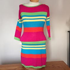 "Derek Heart rainbow stripe knit dress. Medium Derek Heart rainbow stripe knit dress. Medium. 32"" long. Rayon/polyester. Has small 'knot' in knit on top left shoulder. Derek Heart Dresses Mini"