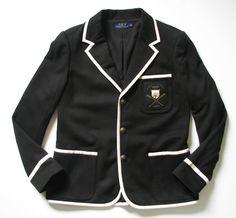 RALPH LAUREN POLO WOMENS 14 BLACK TIPPED 1967 CRESTED BLAZER  RalphLauren   Blazer 62027105d80