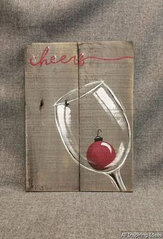 Christmas wine, pallet wall art decor, red christmas pear, christmas deco … - Crafts for adult Pallet Christmas, Christmas Wine, Easy Christmas Crafts, Simple Christmas, Christmas Bulbs, Christmas Canvas, Christmas Wall Art, Christmas Paintings On Canvas, Easy Christmas Drawings