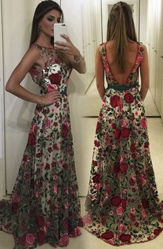 Exquisite Round Neck Sleeveless Backless Sweep Train Floral Lace Prom Dress