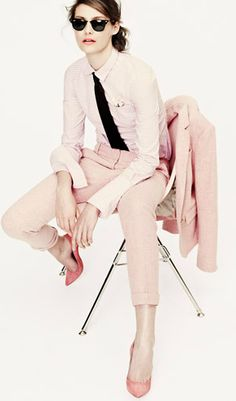 Boy Meets Girl... stylish masculine tailoring in feminine shades of pink; girly vs boyish fashion