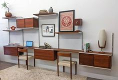 Five Bay George Nelson CSS Wall Unit for Herman Miller | From a unique collection of antique and modern bookcases at https://www.1stdibs.com/furniture/storage-case-pieces/bookcases/