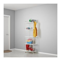 IKEA - MULIG, Shelf unit, white, , Can also be used in bathrooms and other damp indoor areas.The shelves are durable, stain resistant and easy to clean.Hang everything from tools and sports equipment to towels and laundry bags on the short side of the shelf unit using the 4 included hooks.Hide and protect stored items from dust and dirt with MULIG cover, sold separately.