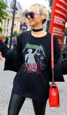 Soo Joo in a Margiela t-shirt and Chanel bag.