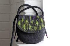 Felt handbag, wool bag, purse, charcoal gray purple cross body bag, shoulder bag, messenger bag, felted purse, gift for her, stylish gift by AgnesFelt on Etsy