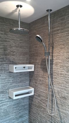 LightGrey Strata in centre double shower + MochaMuted beside > RippleStone/BambooStyle at sink?