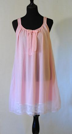 1960's Philmaid Babydoll Nightgown/1960's pink nightgown
