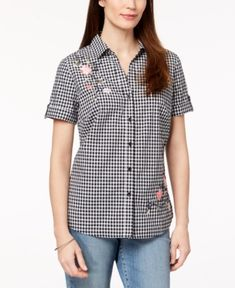 1acb39ae2a5 Karen Scott Petite Cotton Floral-Embroidered Gingham Shirt