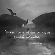 The humans are birds with the wings growing inside. -Nichita Stanescu