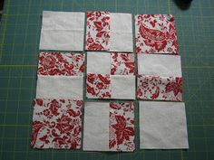 "Love Laugh Quilt: February Starts with 2 solid 6"" squares and 2 pattern 6"" squares. Sewn together as a 4 patch then 4 cuts made, each 2"" from center seam."
