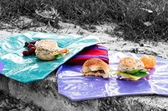 ONYA reusable sandwich wraps made from recycled PET bottles, with a foodsafe PEVA lining