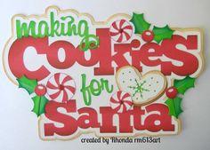 Christmas Cookies paper piecing title premade scrapbook page Rhonda rm613art