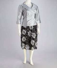 Take a look at this Silver Floral Plus-Size Skirt & Blazer by Dana Kay on #zulily today!