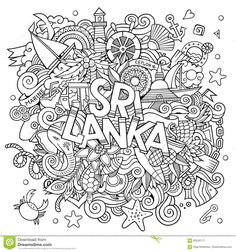 Sri Lanka Country Hand Lettering And Doodles Elements Stock Vector - Illustration of elephant, fish: 83535117 Summer Coloring Sheets, Coloring Pages, Adult Coloring, Coloring Books, Doodle Wall, Doodle Art Drawing, Doodle Lettering, Hand Lettering, Dressing Your Body Type