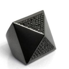 nOir - Pave pyramid ring gunmetal