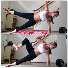 Level 4- advanced plank 1. Star plank- lift top leg and arm, hold position 10-30 seconds. Switch sides and repeat. 2. Start in star plank, bring you top knee to your top elbow - creating an oblique crunch. Complete 10-15 on each side. Repeat as desired.