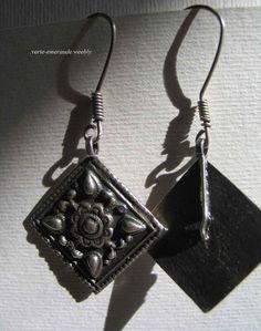 Boucles d'Oreilles Anciennes Pandeloques en Argent. Afghanistan Antique Earrings #Ethnique