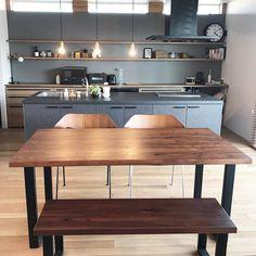 makiさんはInstagramを利用しています:「. ACTUSのダイニングチェア . 子供用はベンチにしました。 . 思ったよりもベンチが使いやすくて 人が来たときにベンチに3人座れます。 . #ACTUS #ダイニングテーブル #ダイニングチェア #ダイニングベンチ #lixilキッチン #リシェルsi #リシェル…」 Natural Interior, Open Kitchen, Kitchen Interior, Table, Room, House, Inspiration, Furniture, Home Decor