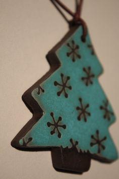 Chocolate Stoneware Christmas Tree Ornament by BotanicalCeramicsNW, $9.00