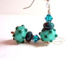 Teal Lampwork Earrings Bluegreen Teal Glass by Elegencebyelaine, $26.00