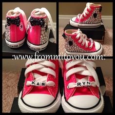 Shoe Gallery by From Mi To You Infant - Hi Top - Black Accents w/ custom name  #shoes  #converse #chucktaylor #bling #kids #girl #bow #diamond #pink #frommitoyou