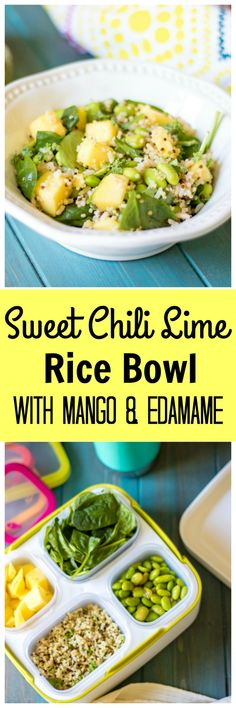Sweet Chili Lime Rice Bowl with Mango and Edamame: Sweet and spicy edamame and fresh mango are tossed with fresh spinach and cilantro lime brown rice creating a perfectly balanced meal that is guarenteed to take your lunch from ho-hum to spectacular. #ad @rubbermaid #BalancedBites