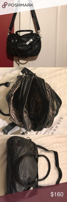 Liebeskind all leather black handbag. Three zippered compartments, cell phone storage, interior pockets. New with tags Liebeskind Berlin Bags Shoulder Bags
