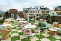 """Women-focused co-working space The Wing has opened a branch in central London, with interiors that draw upon a """"mosh pit"""" of references. English Interior, Backyard Plan, London Location, Outdoor Spaces, Outdoor Decor, Outdoor Tiles, English Country Gardens, Co Working, Rooftop Terrace"""