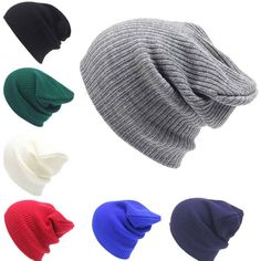 54155f20475 Solid knitted cap Men s Women Beanie Knit Ski Cap Hip-Hop Winter Warm  Unisex Wool