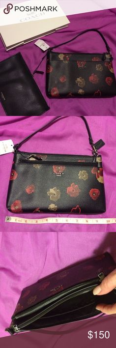 """NWT authentic Coach 2-piece small bag NWT.  Authentic Coach bag.  Two piece. Leather with silver hardware.  Black with multi floral print (tan and red) with zipper pocket.  Front pocket holds a removable black leather zipper pouch. Small strap.  A dainty bag for all occasions. Style #F55683. Length is 9.5"""". Height is 6"""". Authentic Coach gift box will be included. Coach Bags Mini Bags"""