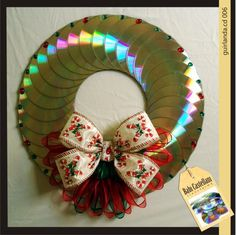 Risultati immagini per manualidades con cd Recycled Cds, Recycled Crafts, Cd Crafts, Diy And Crafts, Cd Art, Christmas Wreaths, Christmas Ornaments, Christmas Activities, Diy Wreath