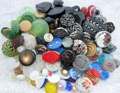 120+ assorted vintage and antique glass buttons
