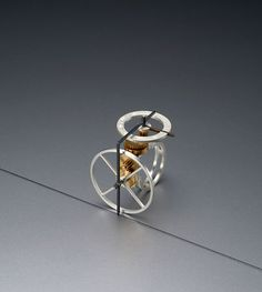 Dukno Yoon, wearable kinetics, wheels  These kinetic rings are designed and fabricated with precisely calculated gears and wheels. When the wearer rolls the primary wheel along a surface it measures length, which then can be read by the two hands on the top dial.