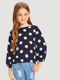 Blusa de niñas con estampado de lunares ribete fruncido-Spanish SheIn(Sheinside)