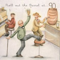 """Cards """" Roll out the Barrel at 90 """" - Berni Parker Designs ღ✟ 90th Birthday Cards, Art Birthday, Happy Birthday, Greeting Card Companies, Friend Crafts, Illustrations, Scrapbook Cards, Scrapbooking, Funny Cute"""