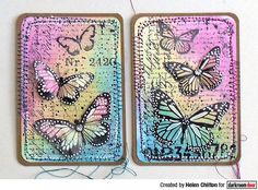 ATC's by Helen Chilton using Darkroom Door Butterfly Script Rubber Stamps Atc Cards, Card Tags, Paper Cards, Distress Ink Techniques, Art Journal Techniques, Art Journal Pages, Journal Cards, Art Journals, Round Robin