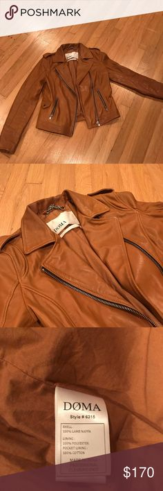 ✨LAST CHANCE✨DOMA Authentic Leather Moto Jacket Worn, but in fantastic condition. A classic moto look rendered in buttery leather is a long-lasting cool-weather go-to. From leather tastemakers Doma.  Nappa leather; polyester, cotton lining One snap, two zip pockets Zip front Dry clean Imported Anthropologie Jackets & Coats