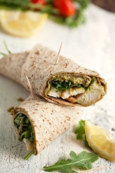 Light and healthy chicken pesto wraps are so fast to make you can have dinner done in 10 minutes or less and cut a few calories, too.