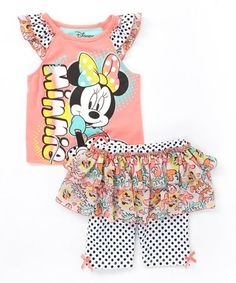 Take a look at this Coral Minnie Mouse Tank & Skirted Leggings - Toddler & Girls on zulily today!