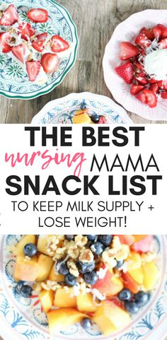 YUMMY! All of these #snack ideas for #breastfeeding moms look so good!! I can't wait to try them all! #nursingmama #healthysnackideas #postpartum #postpartumweightloss #milksupply #lactationrecipes