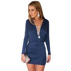 V-Neck Long-Sleeve A-Line Above Knee Lady Slim Mini Dress - Uniqistic.com