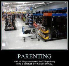 Haha, YAY for walmart! I still think it's the parent taking this photo.