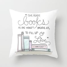She Reads Books Throw Pillow by KV's Design Studio - $20.00