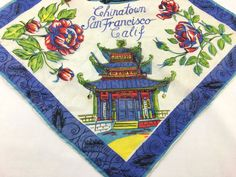 Bright and colorful 1940s San Francisco Chinatown silk handkerchief. A beautifully illustrated souvenir hankie with a San Fransisco Trolley Car,