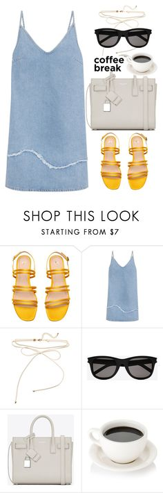 """""""Denim dress"""" by thestyleartisan ❤ liked on Polyvore featuring M.i.h Jeans, Yves Saint Laurent and coffeebreak"""