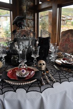 luxe dark table setting tablescape black and gold skull: | Halloween ...