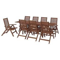 Beauty that lasts, from sustainably sourced acacia. This ÄPPLARÖ dining set invites guests to gather for a meal with friends. Just sit back and relax in the comfortable reclining chair. Outdoor Dining Furniture, Patio Dining, Outdoor Chairs, Table Furniture, Wooden Furniture, Teak, Wood Supply, Drop Leaf Table, Parasol