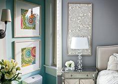 Combine tecidos e molduras para criar quadros coloridos. Fotos: DIY Cheap Wall Decor/Pinterest; name5things/Pinterest
