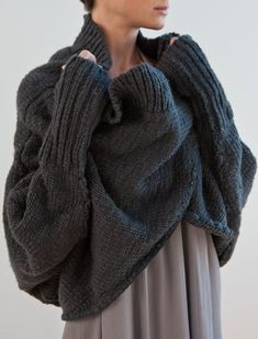 Charcoal chunky wrap cardigan for when it ever cools down in Austin.