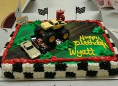 Monster Truck birthday cake- for his 5th birthday :) | Birthday Stuff ... Festa Monster Truck, Monster Truck Birthday Cake, Birthday Cake For Him, Monster Trucks, 4th Birthday, Birthday Ideas, Birthday Stuff, Monster Party, Birthday Wishes